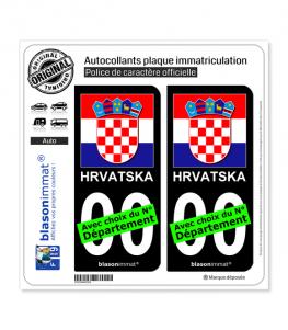 Croatie - Armoiries Drapées   Autocollant plaque immatriculation (Fond Noir)