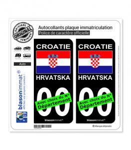 Croatie - Drapeau   Autocollant plaque immatriculation (Fond Noir)