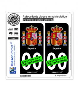Espagne - Armoiries | Autocollant plaque immatriculation (Fond Noir)