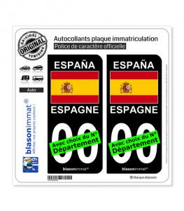 Espagne - Drapeau | Autocollant plaque immatriculation (Fond Noir)