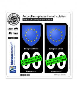 Europe - Armoiries | Autocollant plaque immatriculation (Fond Noir)
