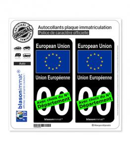 Europe - Drapeau   Autocollant plaque immatriculation (Fond Noir)