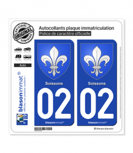 02 Soissons - Armoiries | Autocollant plaque immatriculation