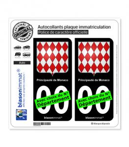 Monaco - Blason | Autocollant plaque immatriculation (Fond Noir)
