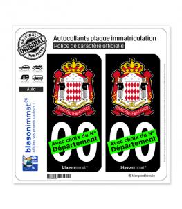 Monaco - Carabiniers du Prince | Autocollant plaque immatriculation (Fond Noir)