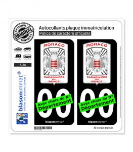 Monaco - Garde Monégasque   Autocollant plaque immatriculation (Fond Noir)