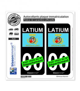 Latium Région - Drapeau (Italie)   Autocollant plaque immatriculation (Fond Noir)