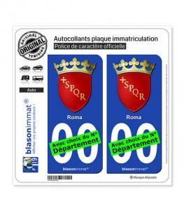 Rome Ville - Armoiries | Autocollant plaque immatriculation (Fond Noir)
