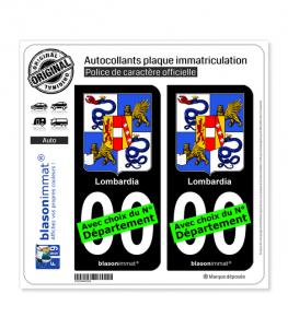 Lombardie Région - Armoiries (Italie) | Autocollant plaque immatriculation (Fond Noir)