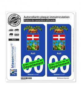 Asti Province - Armoiries (Italie) | Autocollant plaque immatriculation