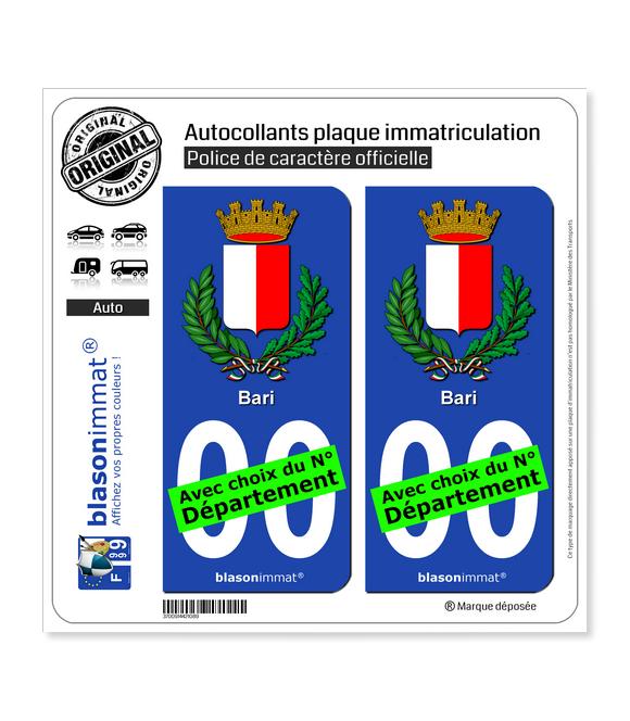 Bari Ville - Armoiries   Autocollant plaque immatriculation