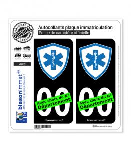 Ambulancier - Blason | Autocollant plaque immatriculation (Fond Noir)