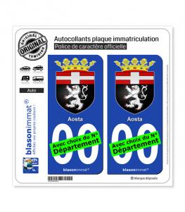 Aoste Ville - Armoiries | Autocollant plaque immatriculation
