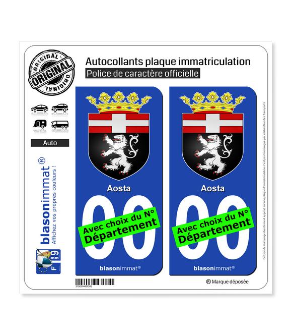 Aoste Ville - Armoiries   Autocollant plaque immatriculation