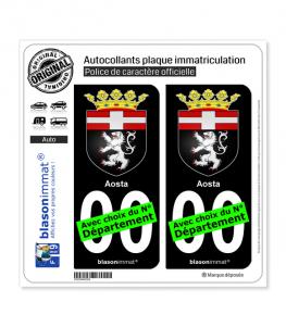 Aoste Ville - Armoiries   Autocollant plaque immatriculation (Fond Noir)