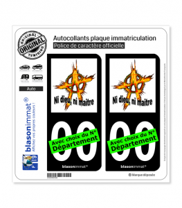 Anarchie - Ni dieu, ni maître | Autocollant plaque immatriculation (Fond Noir)