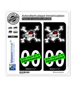 Anarchie - Tête de Mort | Autocollant plaque immatriculation (Fond Noir)
