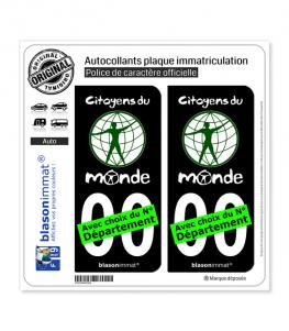 Citoyens du Monde | Autocollant plaque immatriculation (Fond Noir)