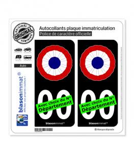 Cocarde Tricolore - Plissée | Autocollant plaque immatriculation (Fond Noir)