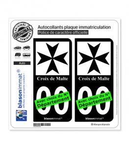 Croix de Malte | Autocollant plaque immatriculation (Fond Noir)
