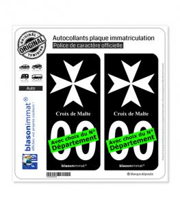 Croix de Malte II   Autocollant plaque immatriculation (Fond Noir)