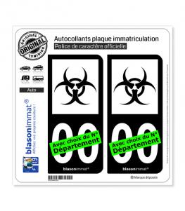 Danger Biologique - Symbole | Autocollant plaque immatriculation (Fond Noir)
