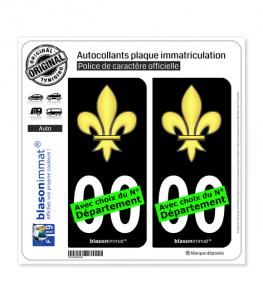 Fleur de Lys | Autocollant plaque immatriculation (Fond Noir)