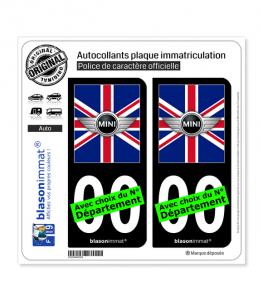 Mini Drapée - Royaume-Uni   Autocollant plaque immatriculation (Fond Noir)