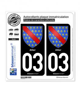 03 Allier - Armoiries | Autocollant plaque immatriculation