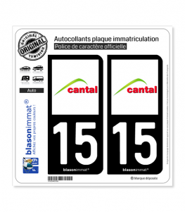 15 Cantal - Département | Autocollant plaque immatriculation
