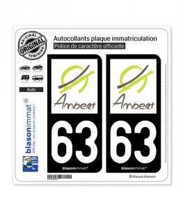 63 Ambert - Ville | Autocollant plaque immatriculation