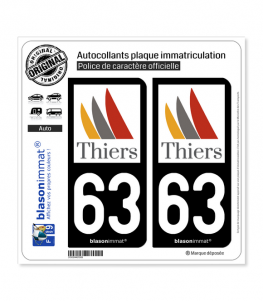 63 Thiers - Ville | Autocollant plaque immatriculation
