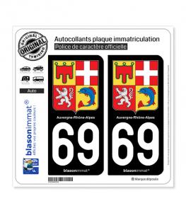 69 Auvergne-Rhône-Alpes - Armoiries | Autocollant plaque immatriculation