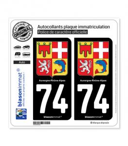 74 Auvergne-Rhône-Alpes - Armoiries   Autocollant plaque immatriculation