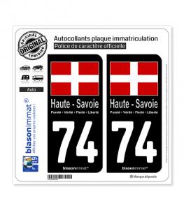 74 Haute-Savoie - Drapeau | Autocollant plaque immatriculation