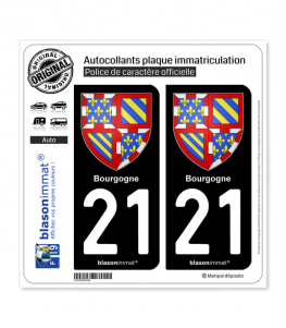 21 Bourgogne - Armoiries | Autocollant plaque immatriculation