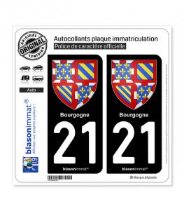21 Bourgogne - Armoiries | Autocollant plaque immatriculation