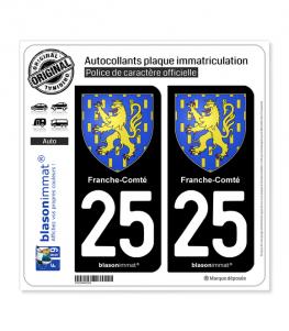 25 Franche-Comté - Armoiries | Autocollant plaque immatriculation