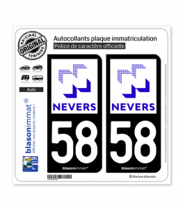 58 Nevers - Ville | Autocollant plaque immatriculation
