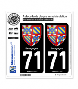 71 Bourgogne - Armoiries | Autocollant plaque immatriculation