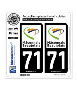 71 Mâcon - Agglo | Autocollant plaque immatriculation