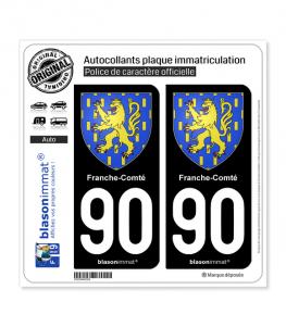 90 Franche-Comté - Armoiries | Autocollant plaque immatriculation