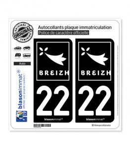22 Breizh - Rannvro | Autocollant plaque immatriculation