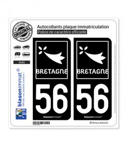 56 Bretagne - Région | Autocollant plaque immatriculation