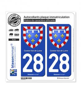28 Centre-Val de Loire - Armoiries | Autocollant plaque immatriculation