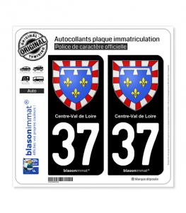 37 Centre-Val de Loire - Armoiries | Autocollant plaque immatriculation