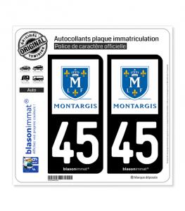 45 Montargis - Ville | Autocollant plaque immatriculation