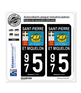 975 Saint-Pierre et Miquelon - Drapeau | Autocollant plaque immatriculation
