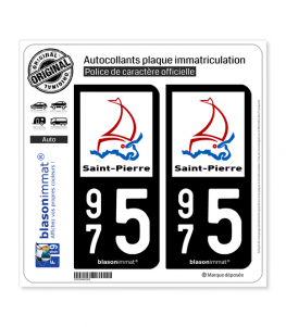 975 Saint-Pierre - Ville | Autocollant plaque immatriculation