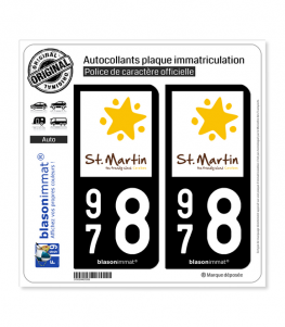 978 Saint-Martin - Tourisme | Autocollant plaque immatriculation